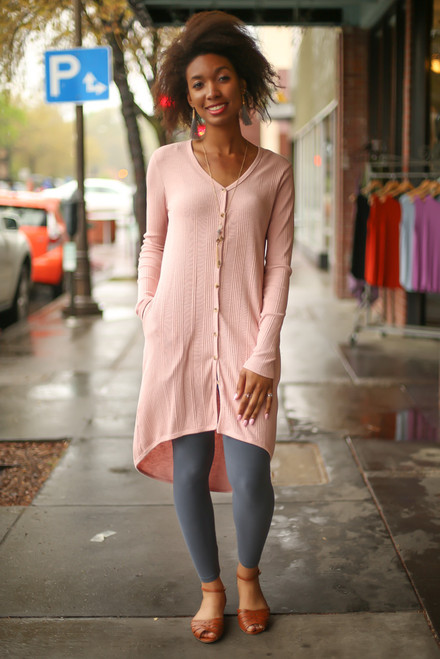 Dusty Rose Delight Button Down Cardigan full body front view.