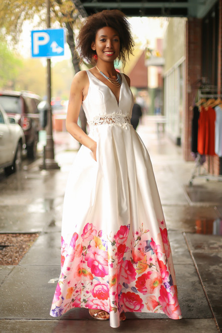 Floral Garden Ivory Floral Satin Gown front view.