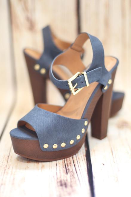 Shannon Denim Platform Heels with Ankle Strap