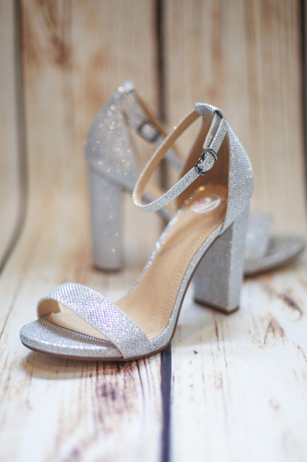 Lexie Silver Sparkly Heels with Ankle Strap