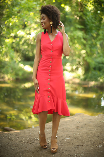 Can't Catch Me Now Red Button Down Midi Dress full body front view.