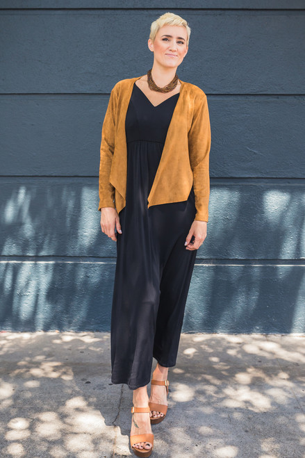 Soft and Smooth Chestnut Faux Suede Jacket Full Body View