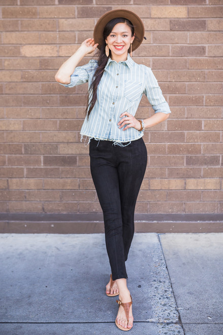 Light Blue and Dandy Striped Button Up Top Front View