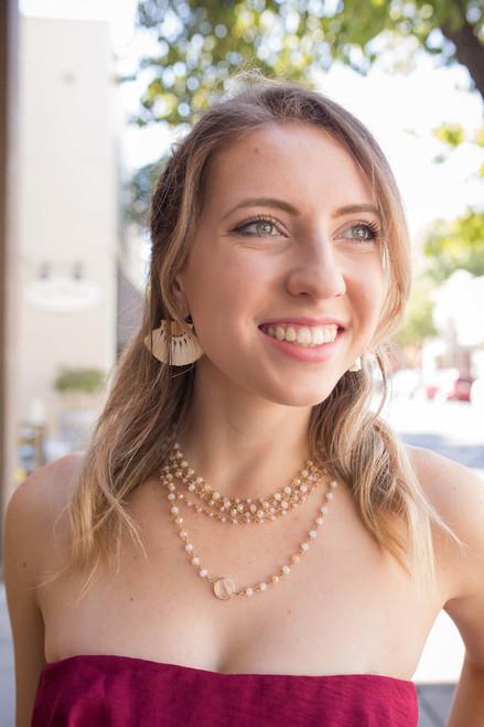 Gold and Ivory Fringe Crescent Tassel Earrings