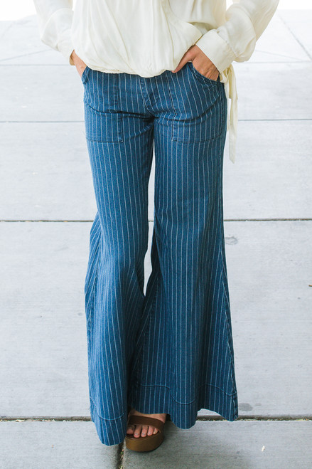 Perfection in Pinstripes Flared Jean front view.