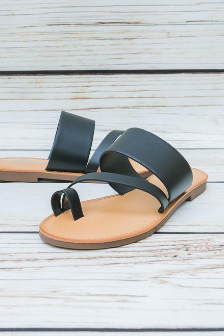 Hanna Black Slip On Sandal