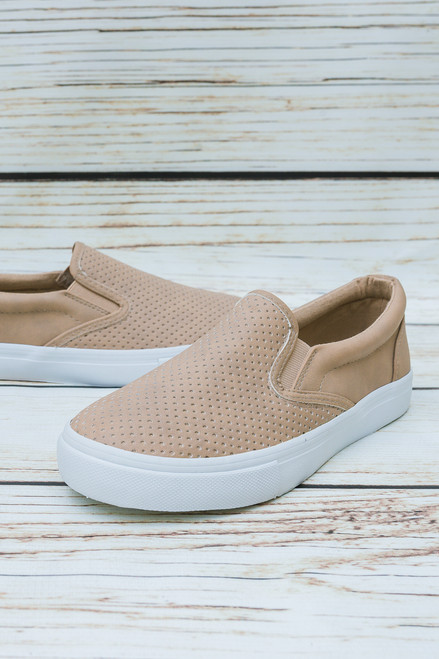 Jamie Natural Nude Perforated Boat Sneakers