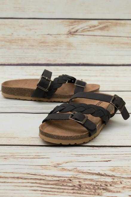Keely Black Slip On Sandal