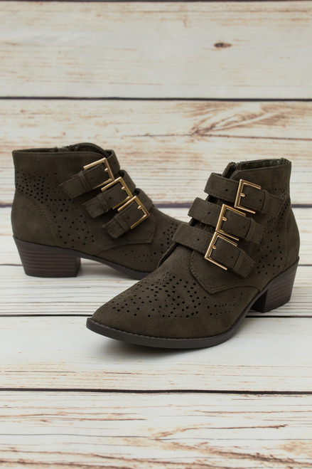 Roxy Khaki Buckle Booties