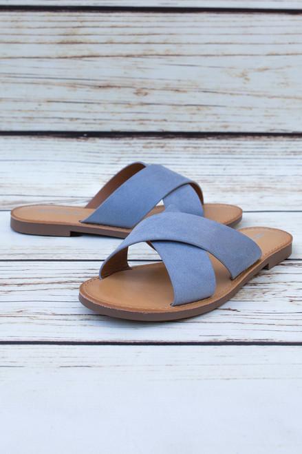 Abigail Blue Slip On Flats