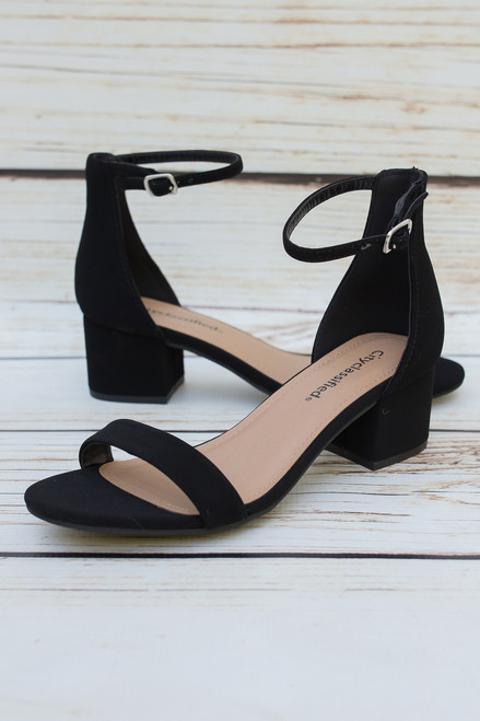 Renee Black Heels with Ankle Strap