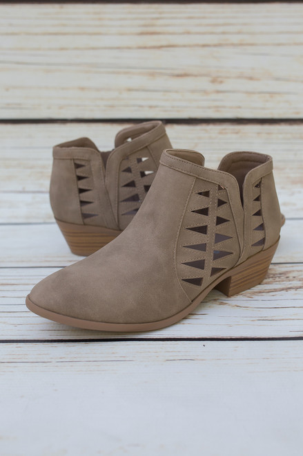Annabelle Light Taupe Laser Cut Ankle Booties