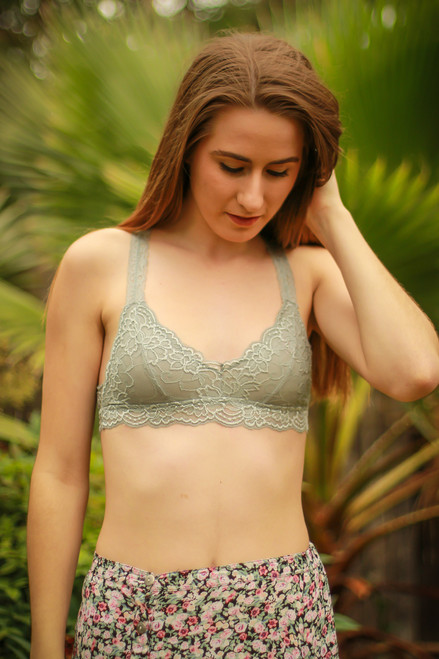 Delicately Stunning Y-Back Lace Bralette in Silver Gray front view.