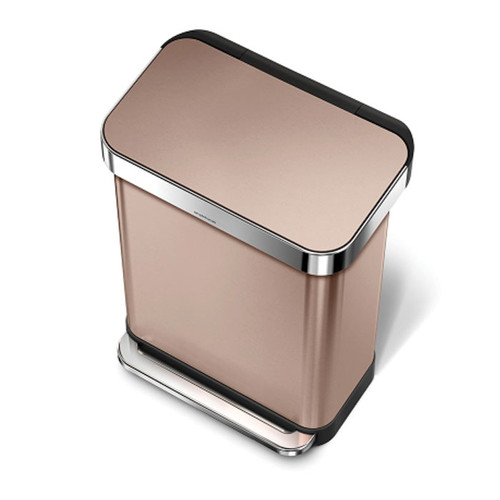 Rectangular Step Can 55l Rose Gold Solutions Your
