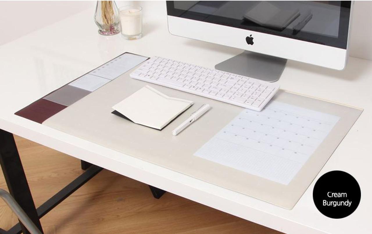 Desk Pad Wide Cream Burgundy
