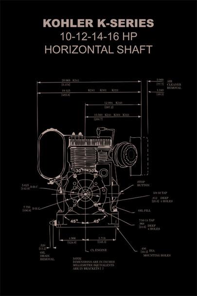 Vintage Kohler K Engine Diagram Poster