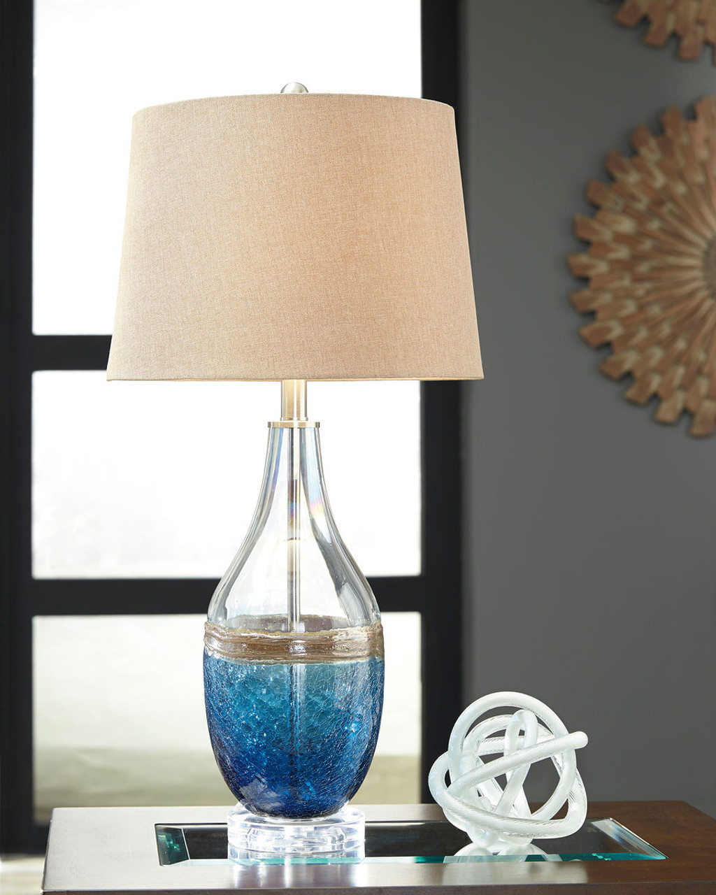 The Johanna Blue Clear Glass Table Lamp Available At Gibson Mcdonald
