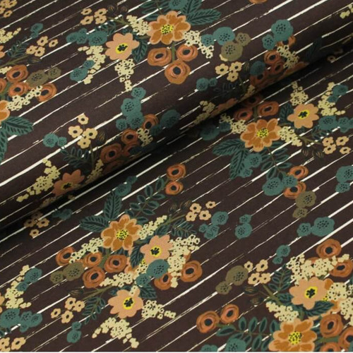 Floral Stripe French Terry in Aubergine