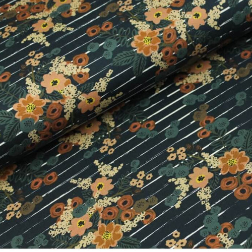 Floral Stripe French Terry in Marine