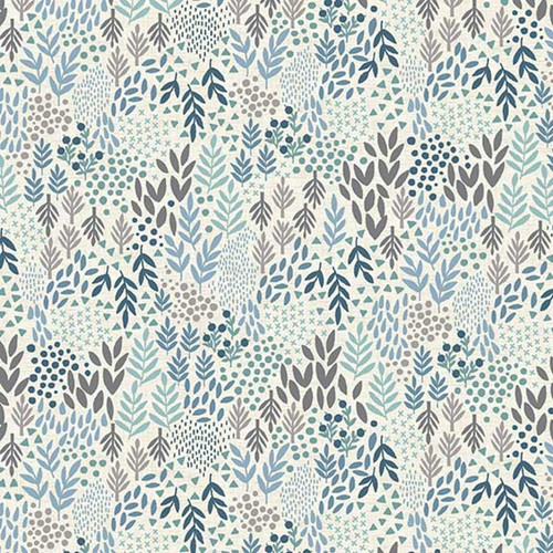 Woodland Leaves Cotton in Grey