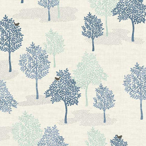 Woodland Trees Cotton in Blue