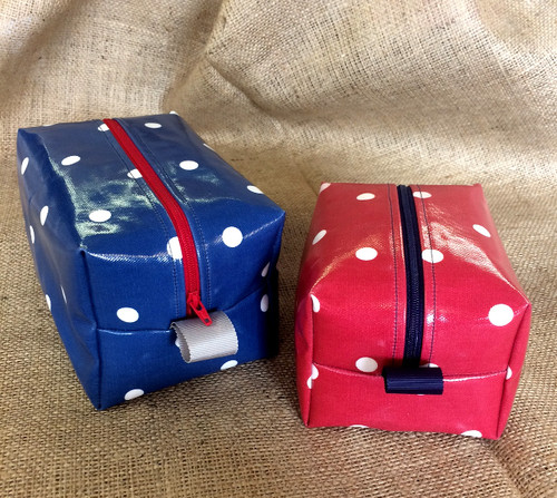 Jet, Set, Go - Oilcloth Wash Bag Set Sewing Kit in Spots