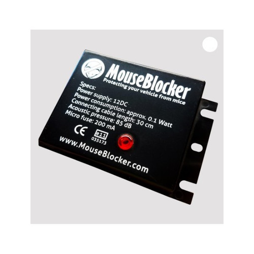 MOUSE BLOCKER CLASSIC,  – Simple 2 or 3 wire hookup – 12 Volt DC power requirements – The worlds first ultra sonic deterent dedicated to automobiles – Low amp draw to keep your battery charged – Powerful at 85db – Only 0.1 Watt draw for long run times on a battery