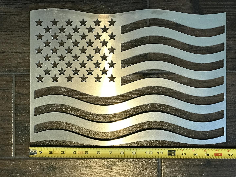 "Enjoy this American Flag created using 1/8"" aluminum."