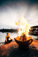 Meditation or yoga by fire pit art