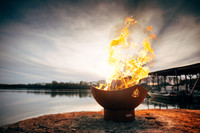 Incredible photography of Namaste fire pit art.