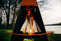 Vesuvius fire pit can be used as a portable fire pit for camping.  Do not transport while hot!