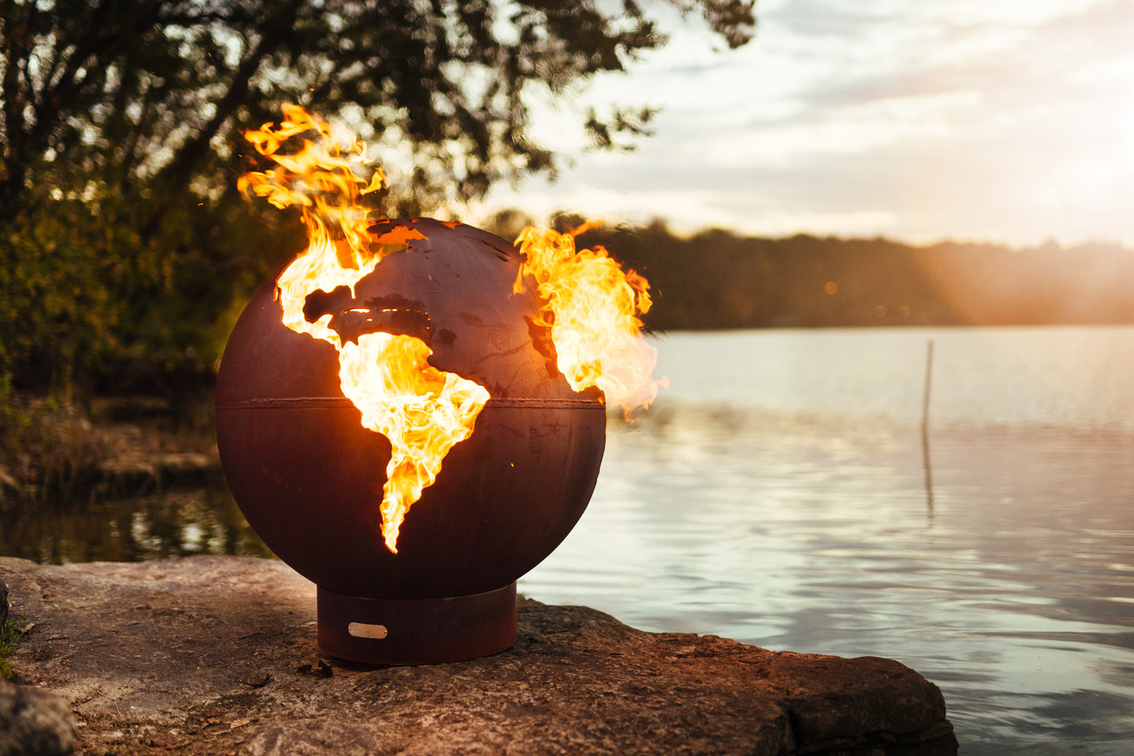 Third Rock Globe of The Earth Fire Pit Art® ... - Third Rock - Fire Pit Art®