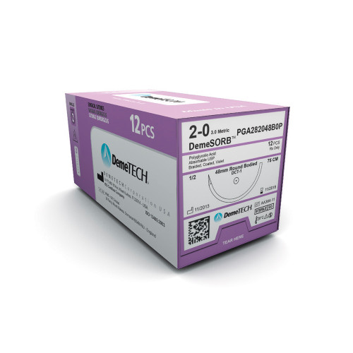DemeTECH® DemeSORB™ PGA Suture - 0 - Precision Point Reverse Cutting - DPS-2