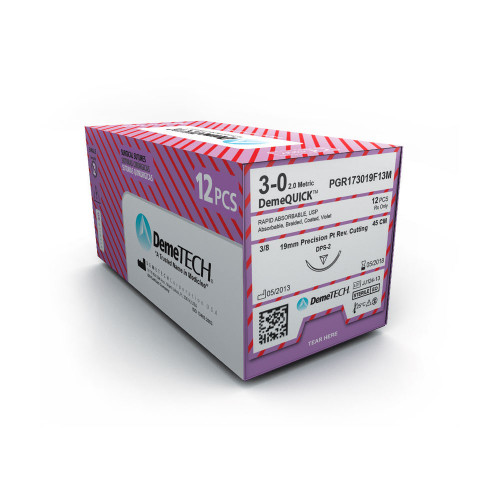DemeTECH® DemeQUICK™ Rapid Absorbable Suture - 4/0 - Reverse Cutting