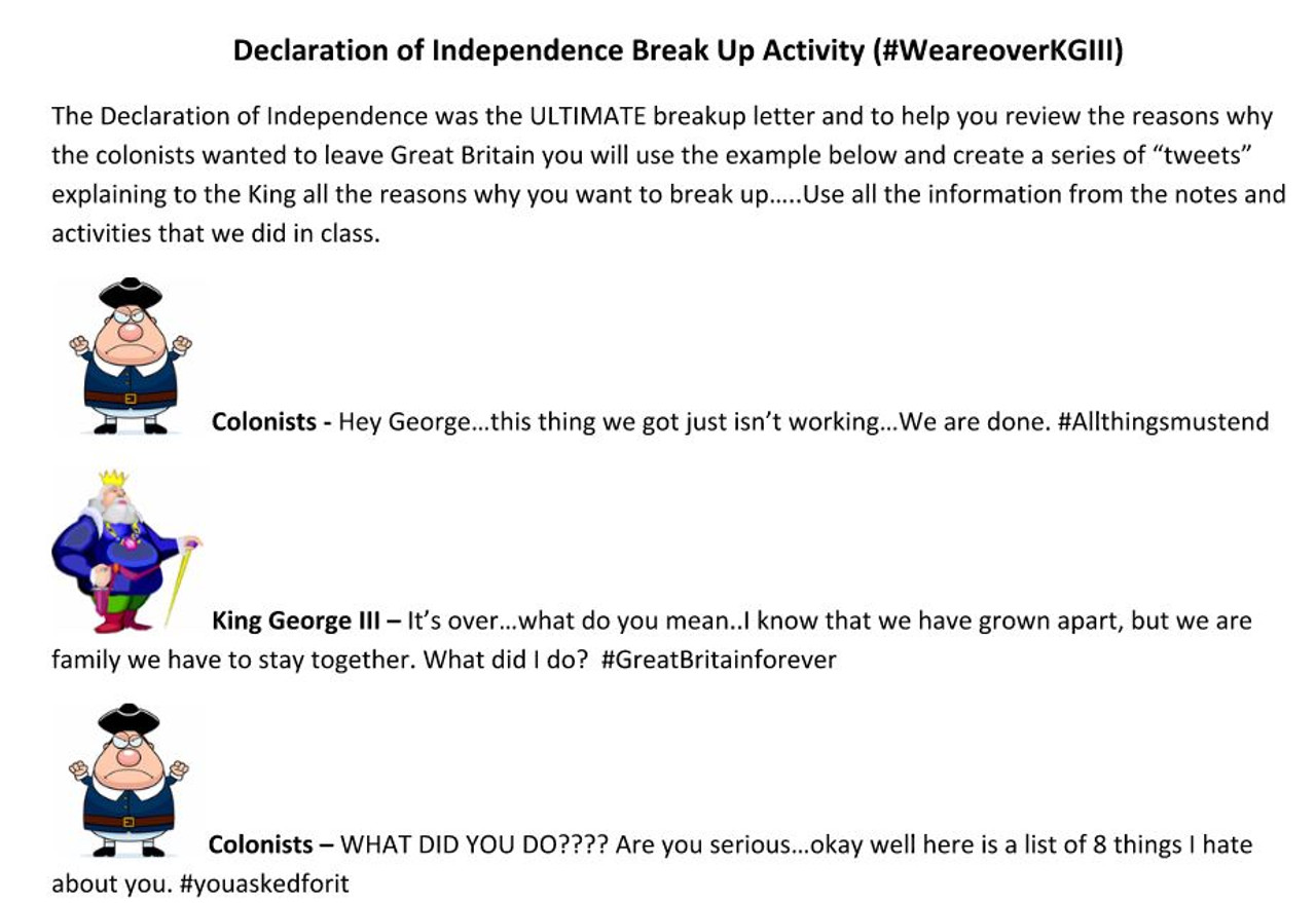 break up letter 2 declaration of independence breakup letter amped up learning 1100