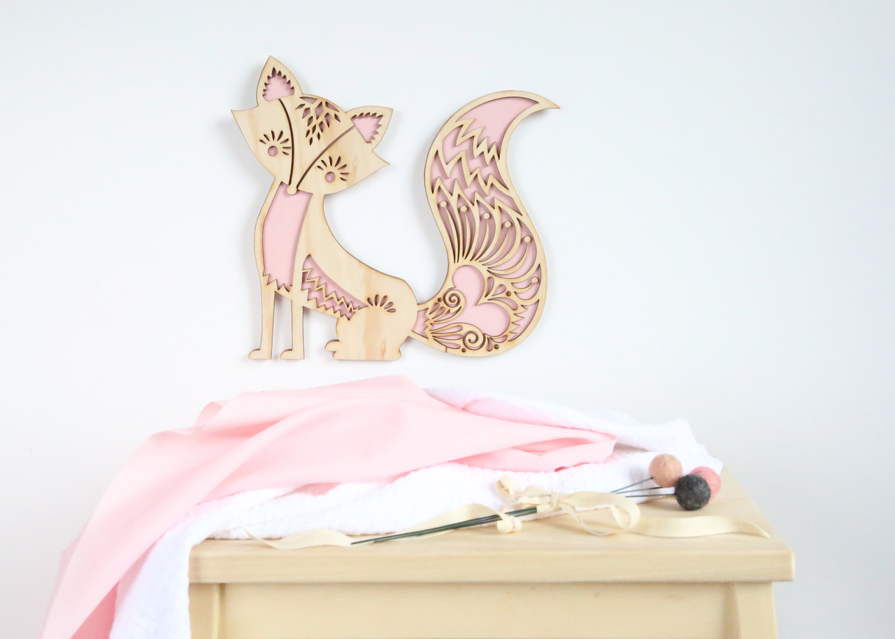 A woodlands silhouette - Fox timber wall hanging