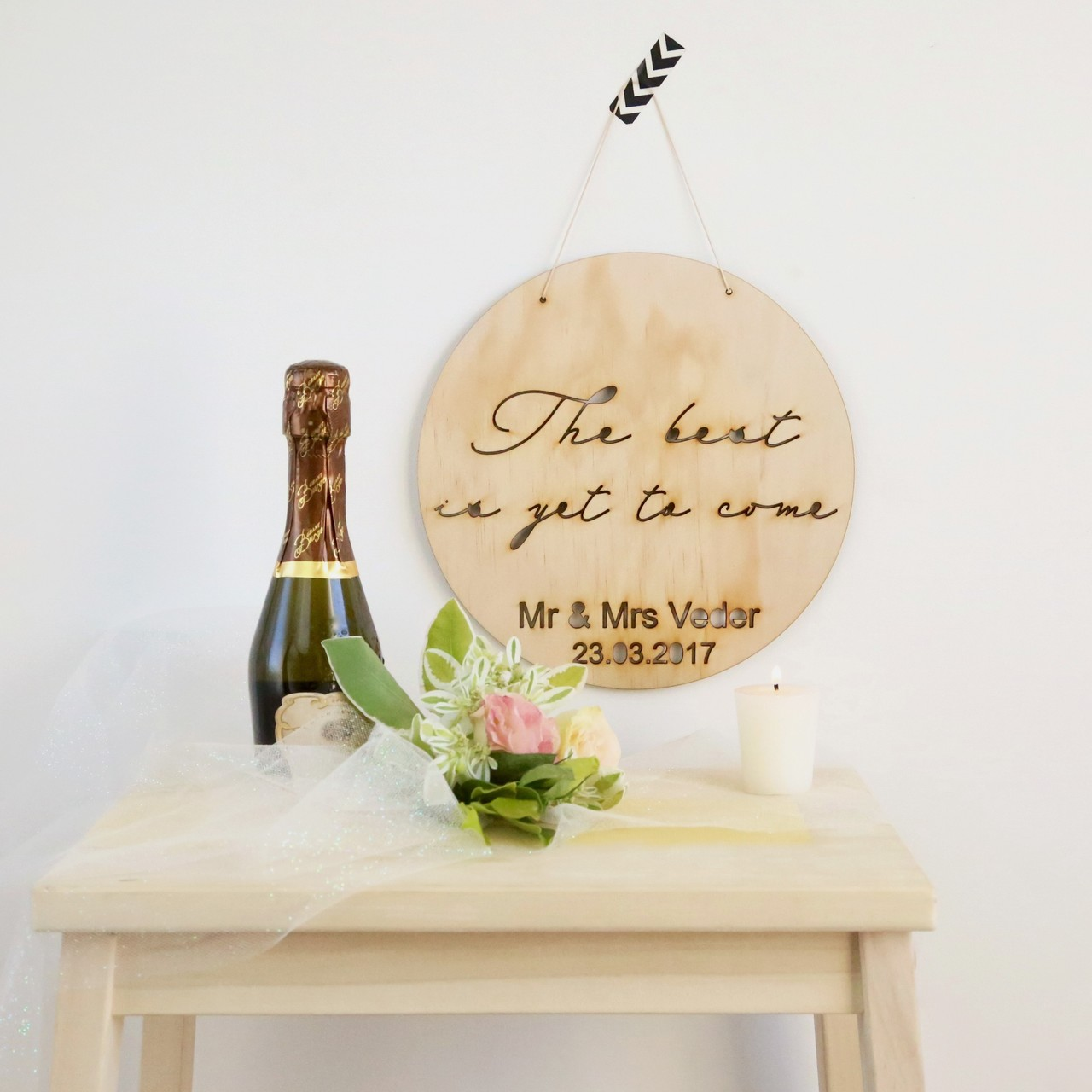 The best is yet to come - personalised wedding wood - wall hanging