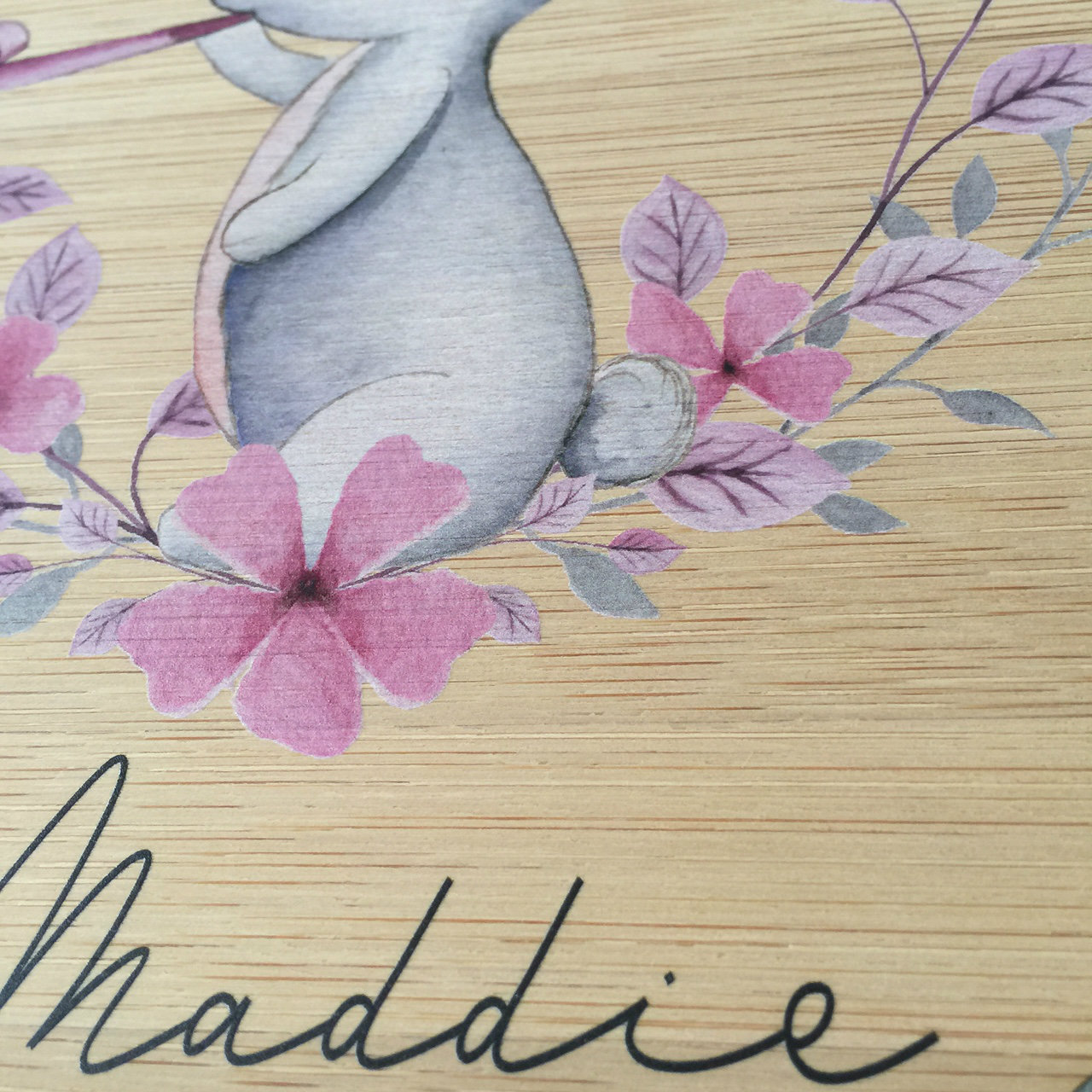 Bunny - Personalised watercolour bamboo plywood wall hanging