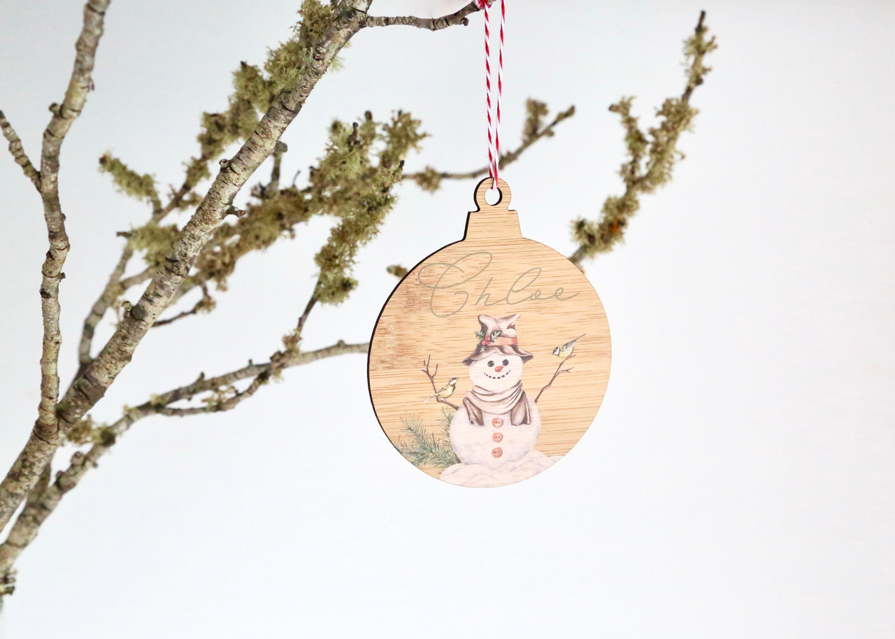Coloured - UV Printed - Personalised Single front image snowman Christmas tree decoration