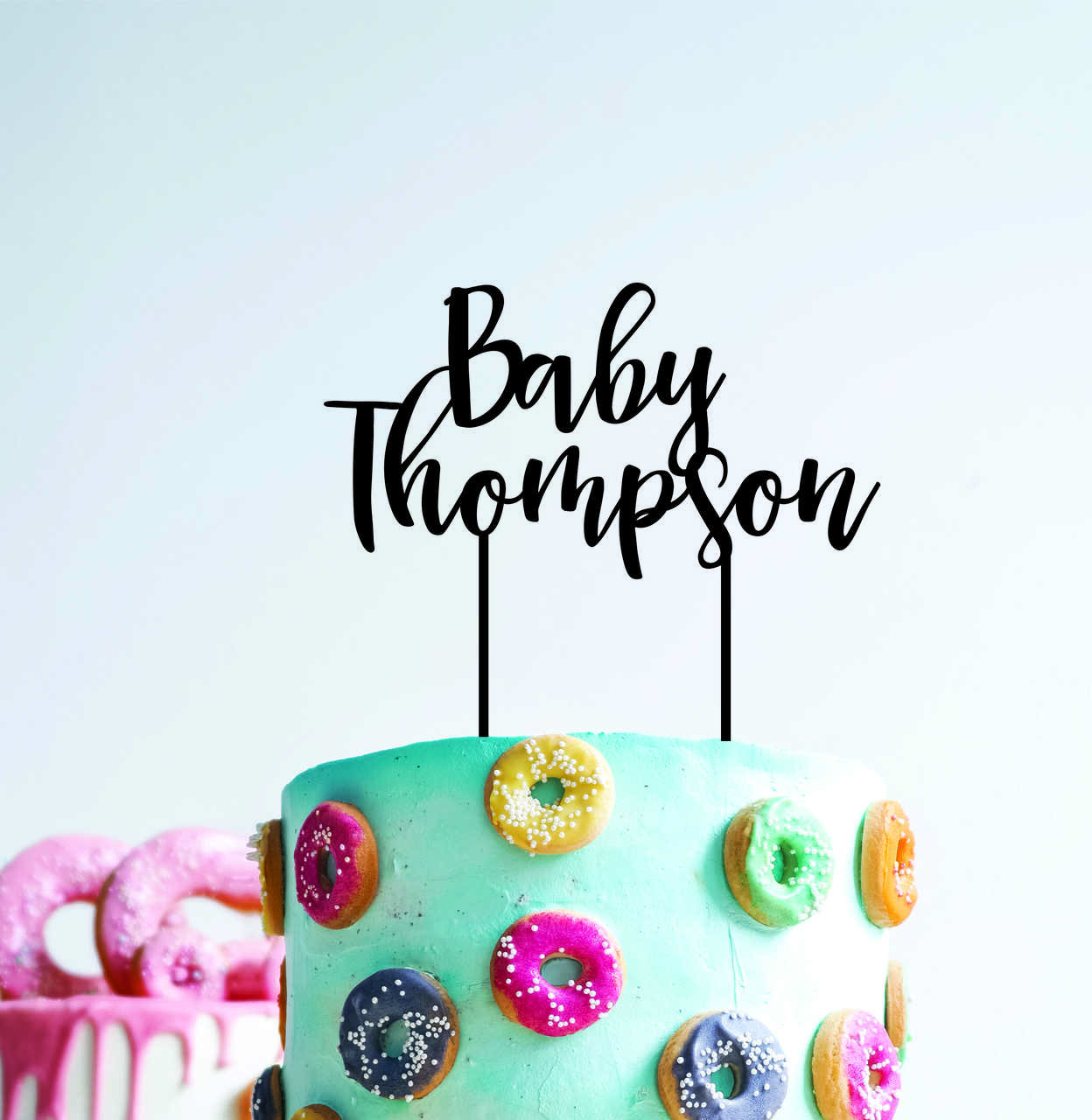 Baby Shower - Personalised with surname - surname with flowing font