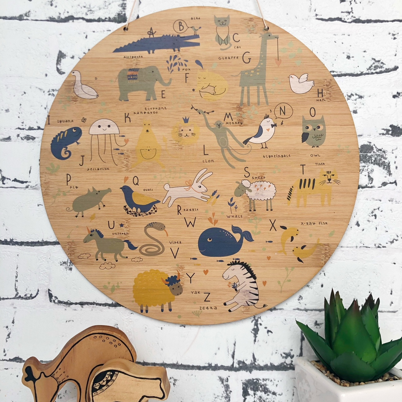 ABC Animal Scandi Alphabet bamboo plywood wall hanging