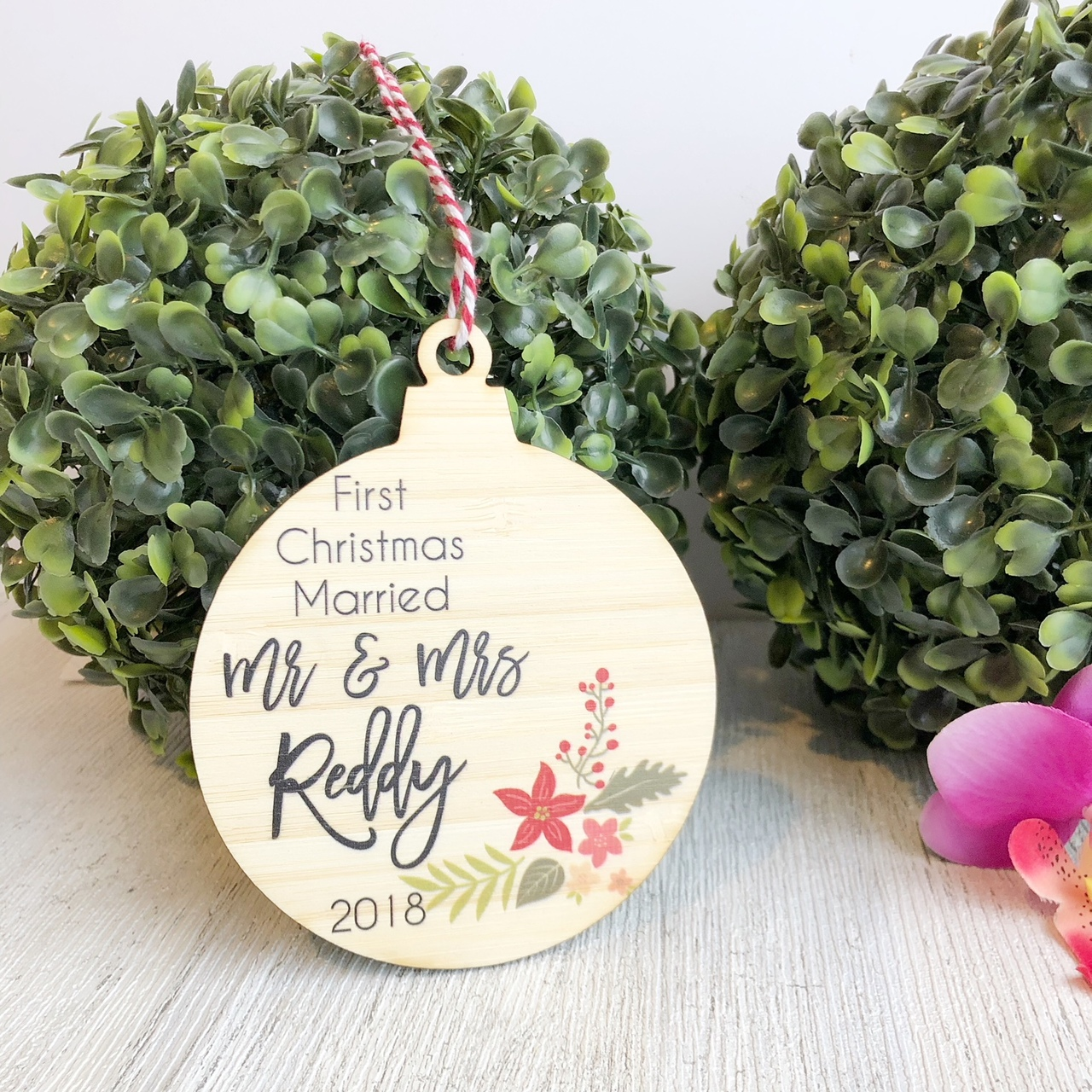 Christmas Bauble - First Christmas Married Christmas Arrangement