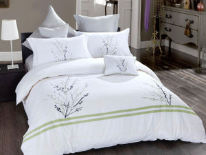 7 Pcs Poly Cotton Duvet Cover Bedding Set Floral Design Embroidery