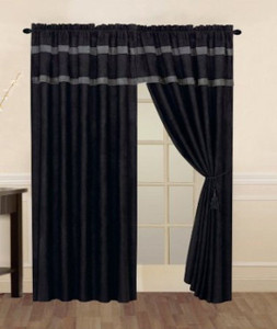 Black and Grey Micro Suede Window Curtain / Drape Set with Valance and Sheer Lining