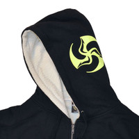 Huk Lab Tree Love Sherpa Hoodie black with neon and gray graphics