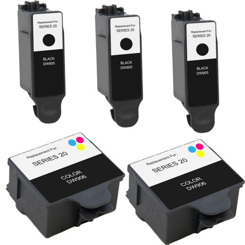 5 Pack - Compatible replacement for Dell series 20 ink cartridges