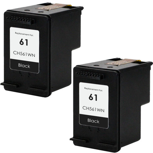 Twin-Pack Remanufactured replacement for HP 61 (CH561WN) black ink cartridge