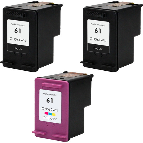 3 Pack - Remanufactured replacement for HP 61 series ink cartridges