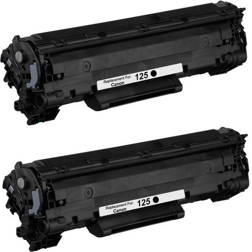 Twin Pack - Compatible replacement for Canon 125 (3484B001AA) black laser toner cartridge