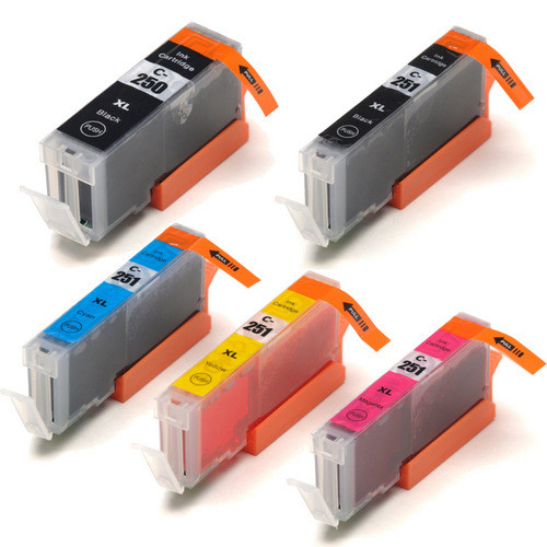 5 Pack - Compatible replacement for Canon PGi-250 and Cli-251 series ink cartridges